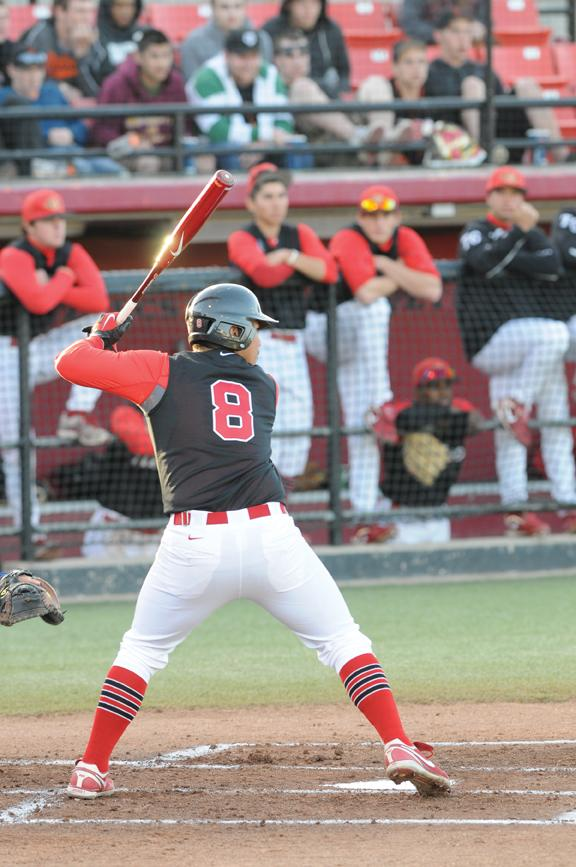 Senior Jomel Torres hit a home run in Sunday's loss. Dustin Michelson, Staff Photographer