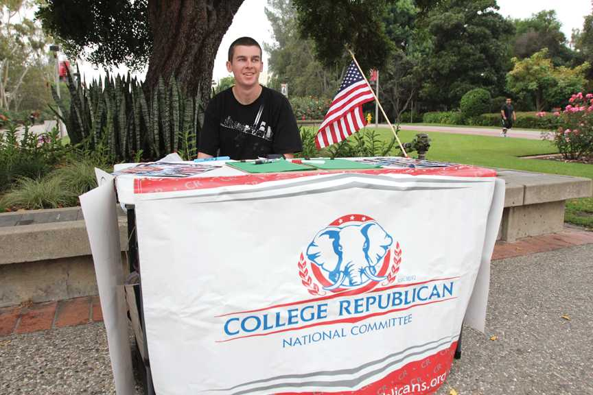 A student tables for the College Republican National Committee in 2011
