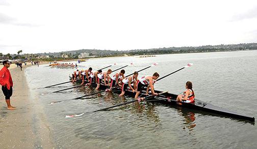 Female coxswain help keep men's crew afloat