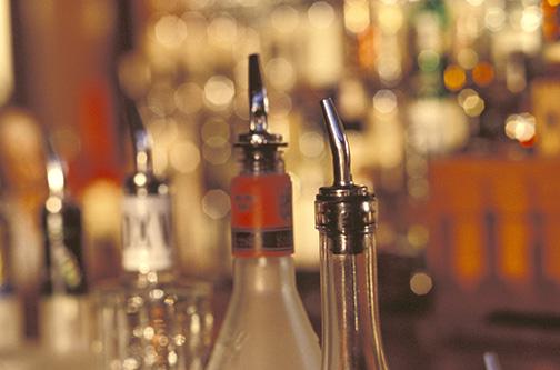 Bottles of Liquor at a Bar
