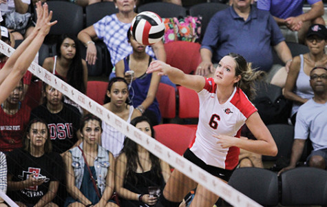 Aztecs drop three sets to Toreros
