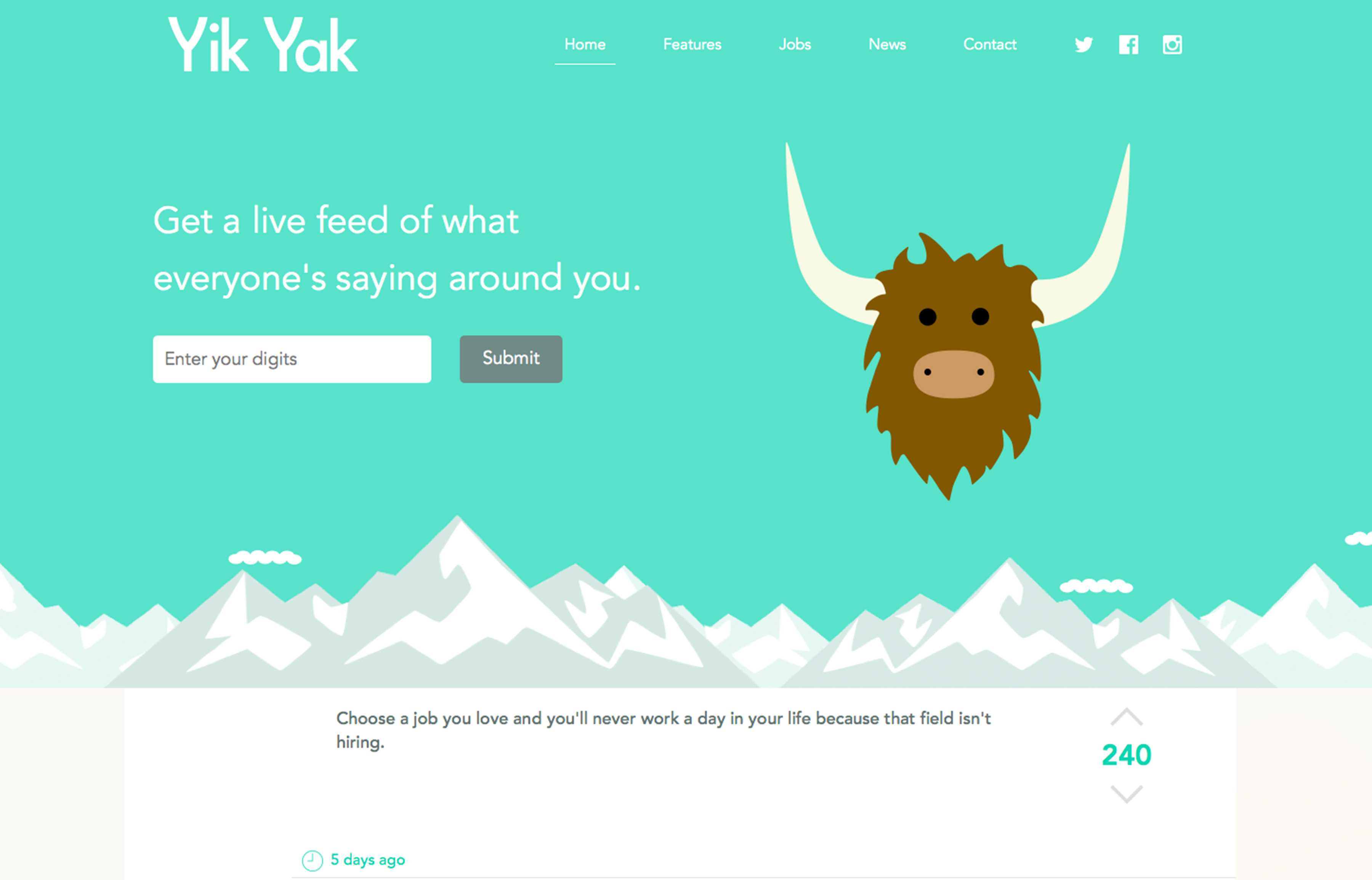 Screenshot of Yik Yak website