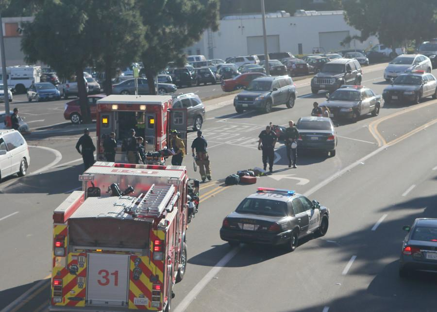 Traffic build-up on College Avenue due to motorcycle collision