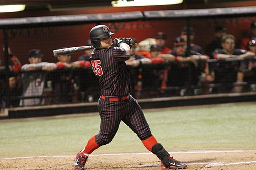 SDSU Baseball infielder Ty France batting