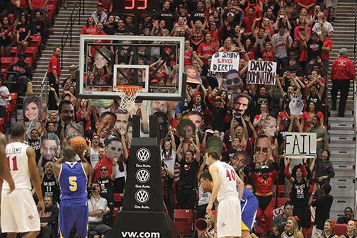 sdsu student section the show tries to distract shooter