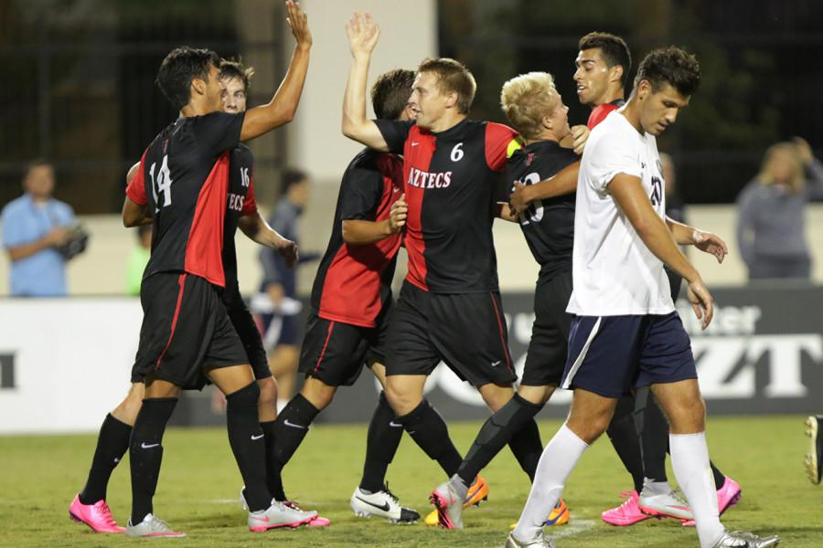 SDSU men's soccer upsets No. 16 UCLA on Senior Night