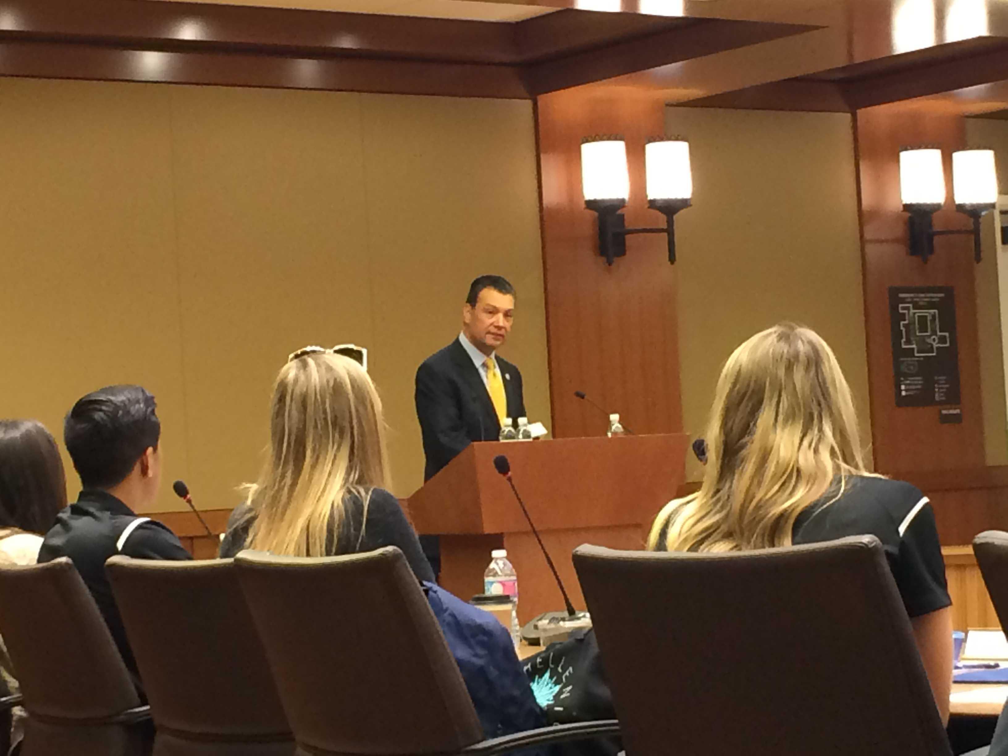 California Secretary of State Alex Padilla addressed Associated Students on Feb. 3.