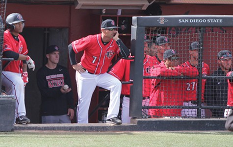 Head coach Mark Martinez looks on from the dugout during the 2016 season.