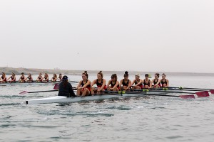 San Diego State women's rowing practices in the fog in Mission Bay.