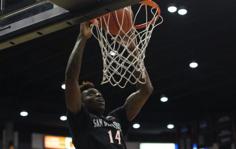 Redshirt sophomore forward Zylan Cheatham finishes a dunk in the Aztecs' 46-28 win over San Diego Christian.