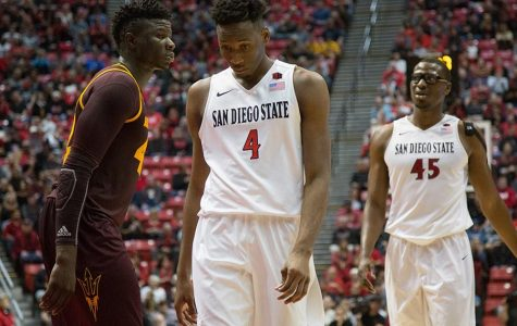 Senior guard Dakarai Allen (4) walks away despondently after a play during the Aztecs' 74-63 loss to Arizona State.