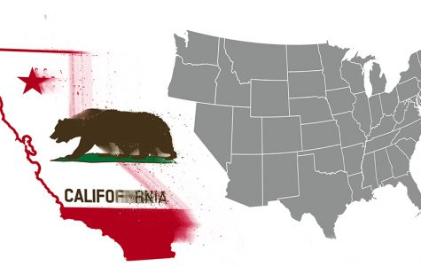 California separates from a map of the United States.