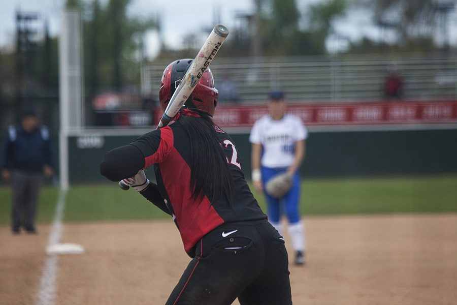 Freshman+utility+player+Kiera+Wriight+chokes+up+on+the+bat+against+UCLA+on+Feb.+10.