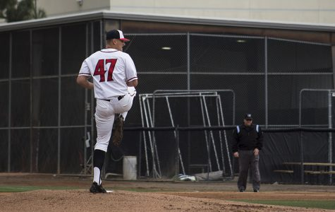 Senior pitcher Dominic Purpura winds up for a pitch against the University of Pacific.