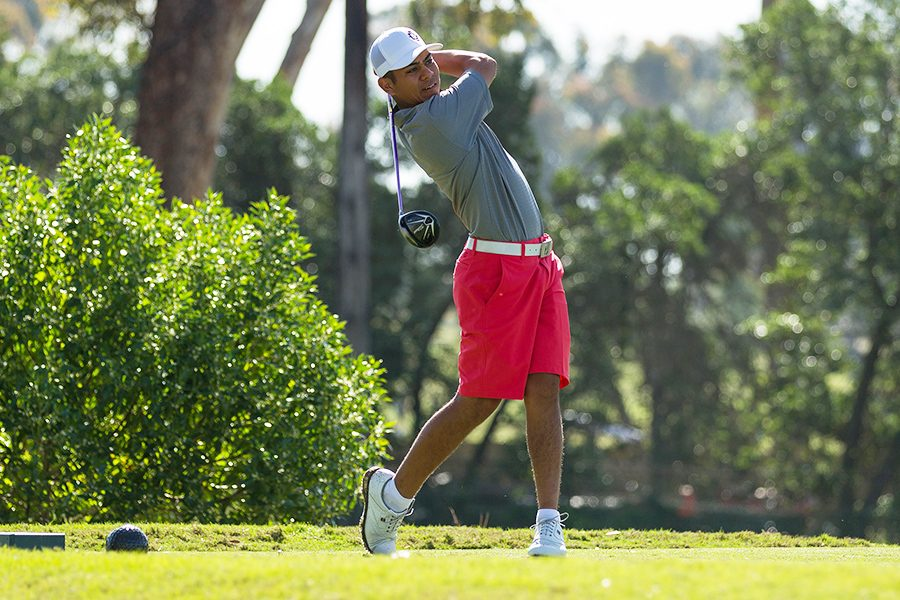 Junior PJ Samiere follows through his tee shot in the first round of the 2016 Lamkin San Diego Classic.