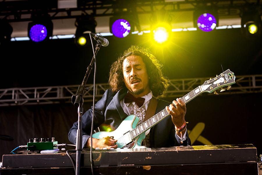 Chicano Batman guitarist Bardo Martinez plays passionately during its set.