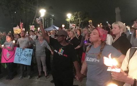 San Diegans at a vigil for Heather Heyer, the woman killed protesting the