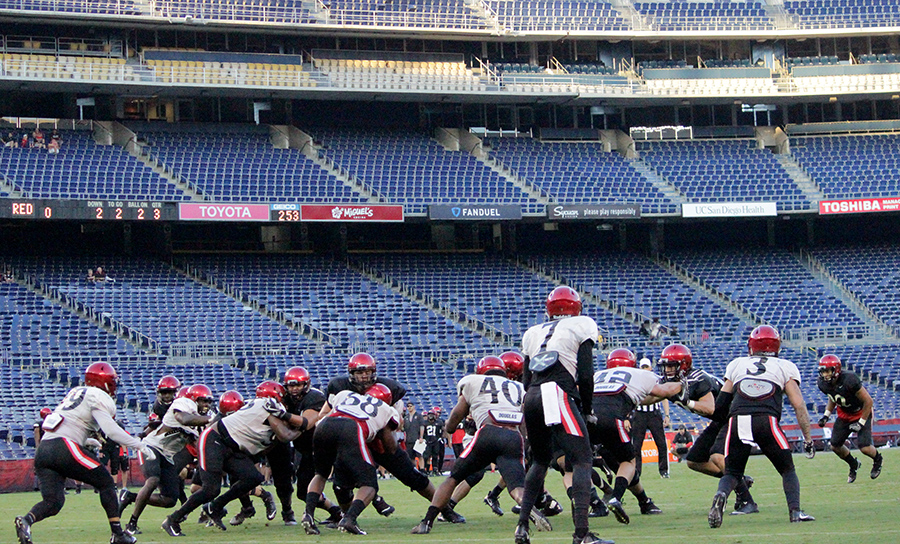 San Diego State football scrimmages in front of an empty Qualcomm crowd.