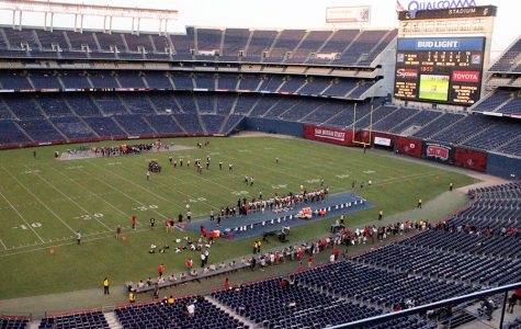 An aerial view of Qualcomm Stadium.
