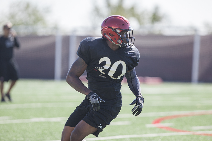 Senior running back Rashaad Penny looks for the ball during a 2017 practice.