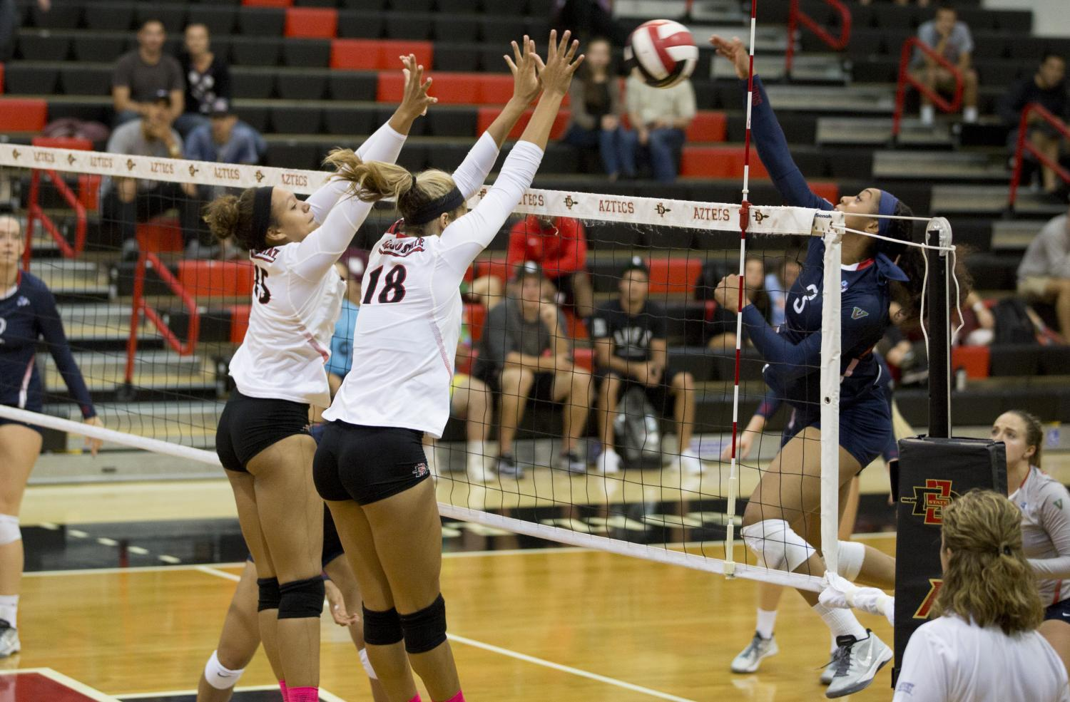Senior outside hitter Alexis Cage and junior middle blocker Deja Harris go up for a block during SDSU's loss to Loyola Marymount.