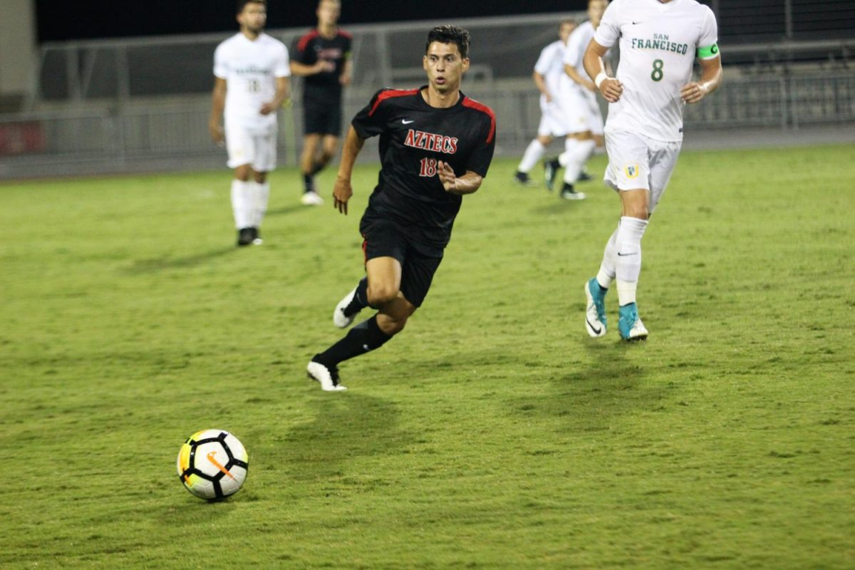 Redshirt freshman midfielder DJ Villegas chases after a ball during SDSU's 2-1 loss to San Francisco on September 8, 2017.