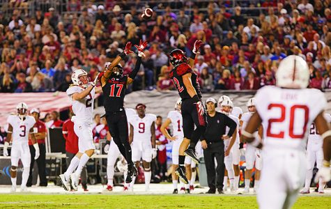 Sophomore cornerback Ron Smith intercepts a pass during the second quarter of SDSU's 20-17 win over Stanford University.