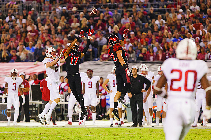 Sophomore+cornerback+Ron+Smith+intercepts+a+pass+during+the+second+quarter+of+SDSU%27s+20-17+win+over+Stanford+University.
