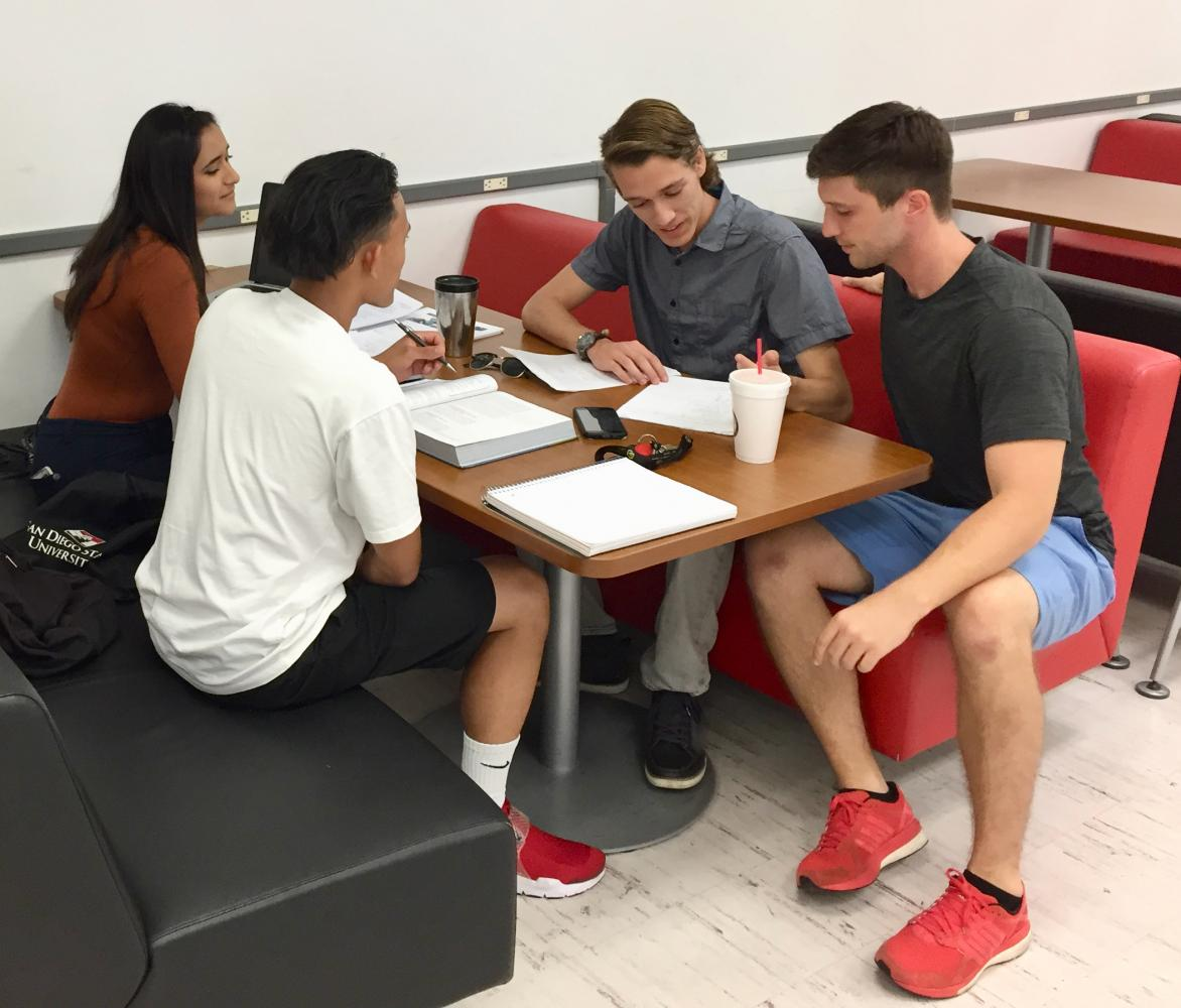MathWizJohn tutors Corey Ebersole and Evan Saldivar (right) tutoring two SDSU students in the Love Library. Courtesy photo.