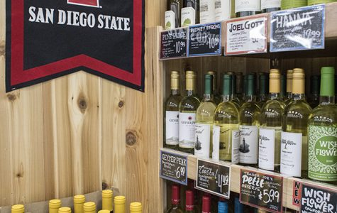 Alcohol on display at SDSU's Trader Joe's grocery store.
