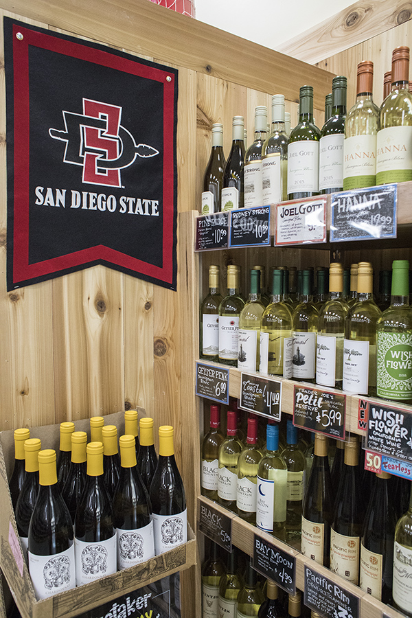 Alcohol+on+display+at+SDSU%27s+Trader+Joe%27s+grocery+store.