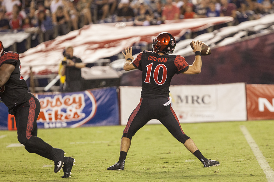 Redshirt junior quarterback Christian Chapman throws a pass during SDSU's 38-17 win over UC Davis.