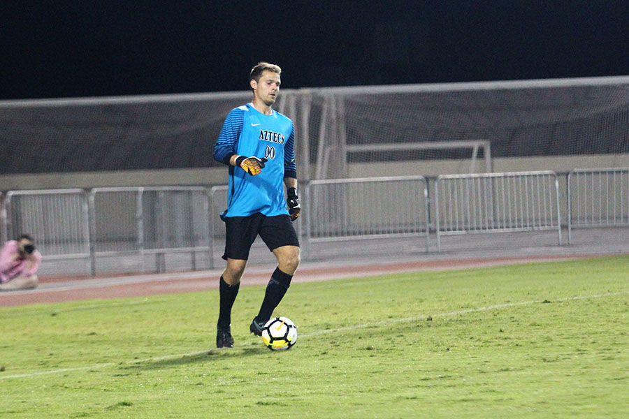 Redshirt senior goalie Adam Allmaras sets up for a goal kick in SDSUs loss to USF.