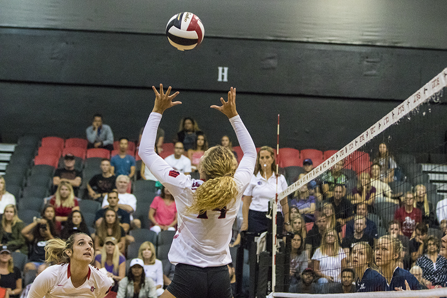 Senior outside hitter Alexis Cage sets up a teammate during SDSUs match against Loyola Marymount.