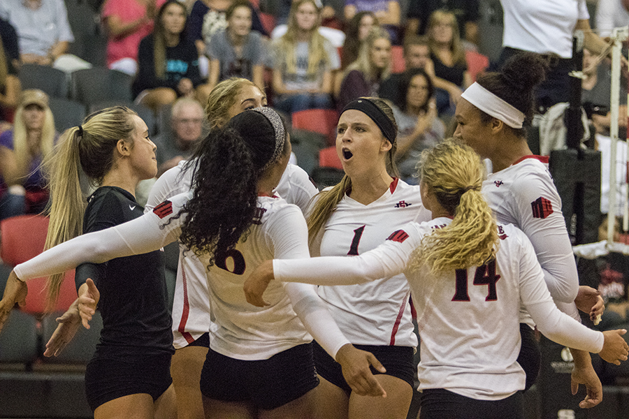 Several+SDSU+women%27s+volleyball+players+celebrate+after+winning+a+point+against+Loyola+Marymount.