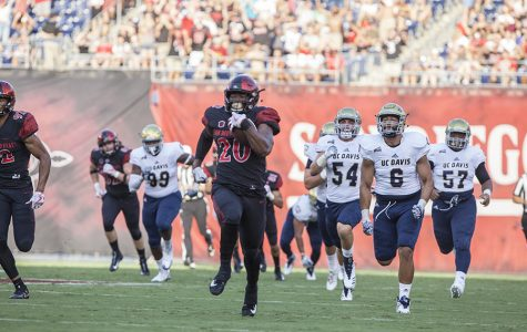 Senior running back Rashaad Penny outruns a slew of UC Davis defenders during SDSU's 38-17 win.