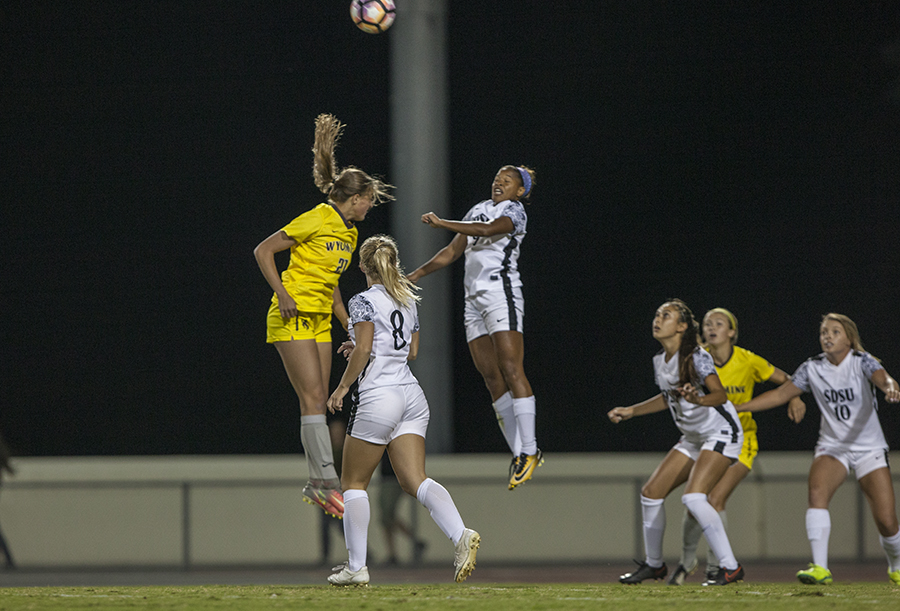 Senior forward Angela Mitchell launches for a header during SDSU's 2-1 win over Wyoming on Oct. 20.