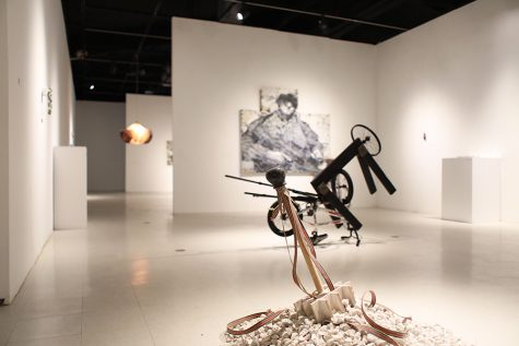 Located in the SDSU University Gallery, art displayed in the Wiggle Room exhibit showcases the work of graduate students.