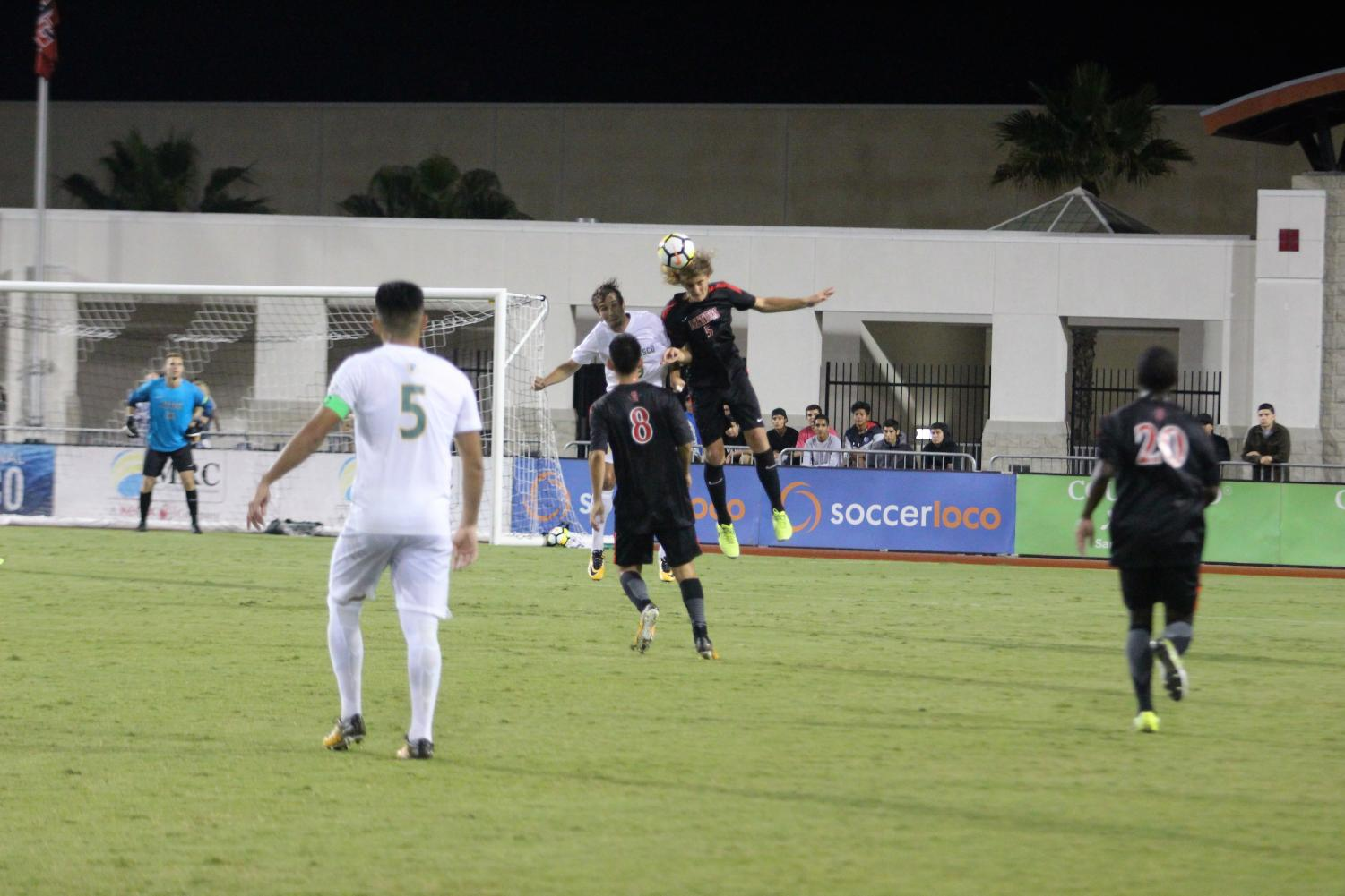 Junior defender Kyle Adams  competes for a header against the University of San Francisco on Sept. 8. The Aztecs lost the match 2-1.