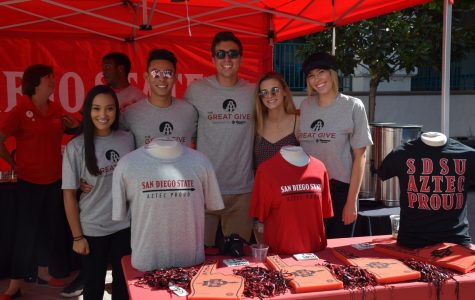 Students and one alumnus table for Aztec Proud during The Great Give on Tuesday, Oct. 24 at Conrad Prebys Aztec Student Union. Left to right: Julia Killough, communications alumnus, Dong Thai, public relations junior, Pat Romo, international business junior, Cat Kricorian, economics junior, and Mary Kennedy, business marketing senior.