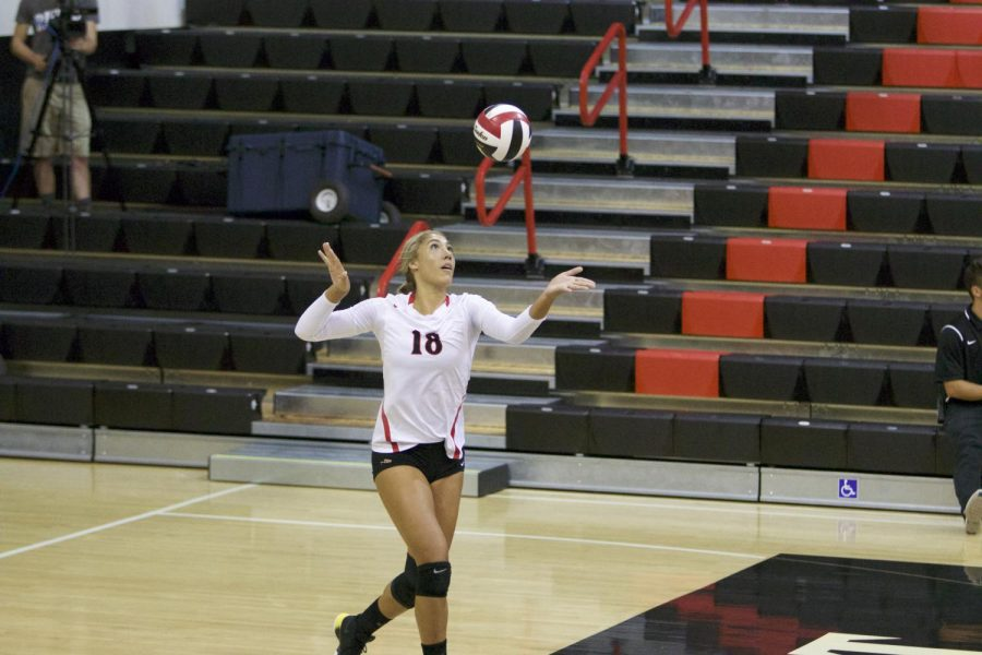 Senior+outside+hitter+serves+during+SDSU%27s+match+against+Loyola+Marymount+on+Sept.+8.