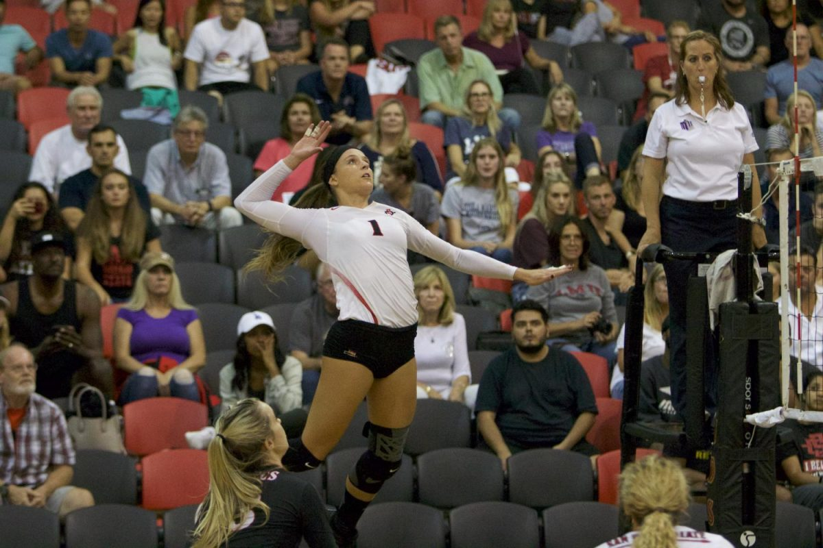 Junior outside hitter Alexandra Psoma rises for a spike during SDSU's 0-3 loss to Loyola Marymount on September 8.