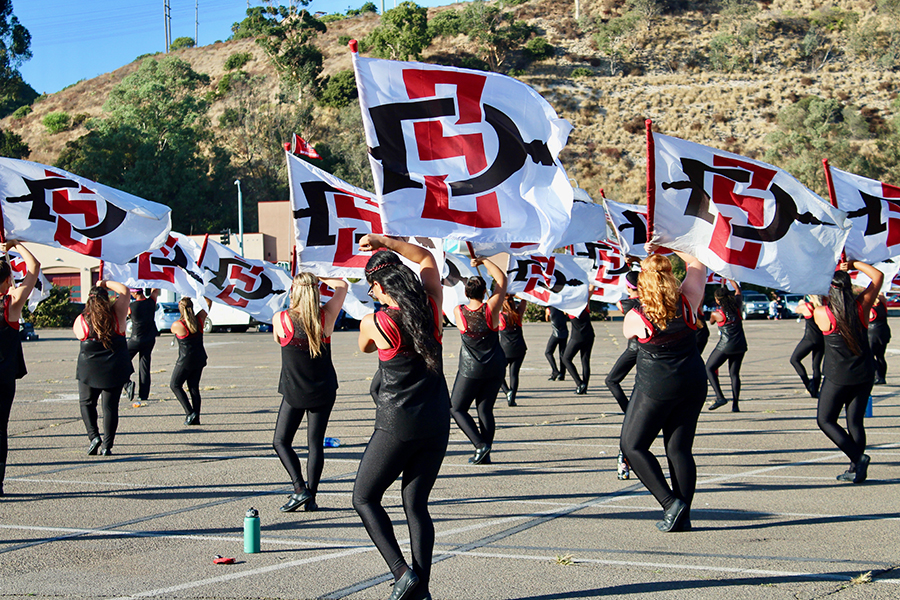 San Diego State's color guard practices in the parking lot of SDCCU Stadium. The stadium site could be the site of a new west campus for the university if Friends of SDSU has their way.