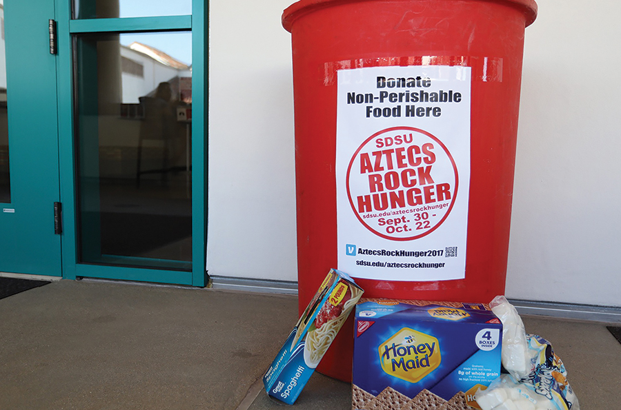 There are a variety of Aztecs Rock Hunger donation bins around campus.
