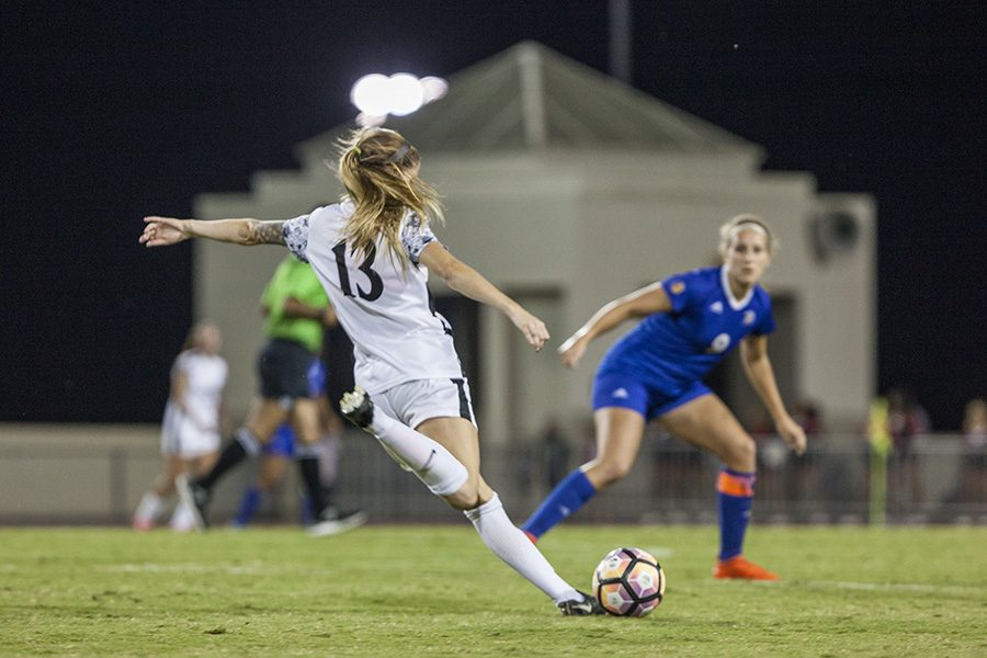 Senior defender Stacie Moran laces a shot during SDSU's 0-0 double overtime draw with San Jose State on Friday, Oct. 6.