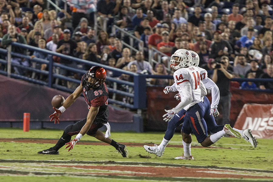 Junior wide receiver Fred Trevillion attempts to make a catch during the first quarter of SDSU's 27-3 loss to Fresno State.