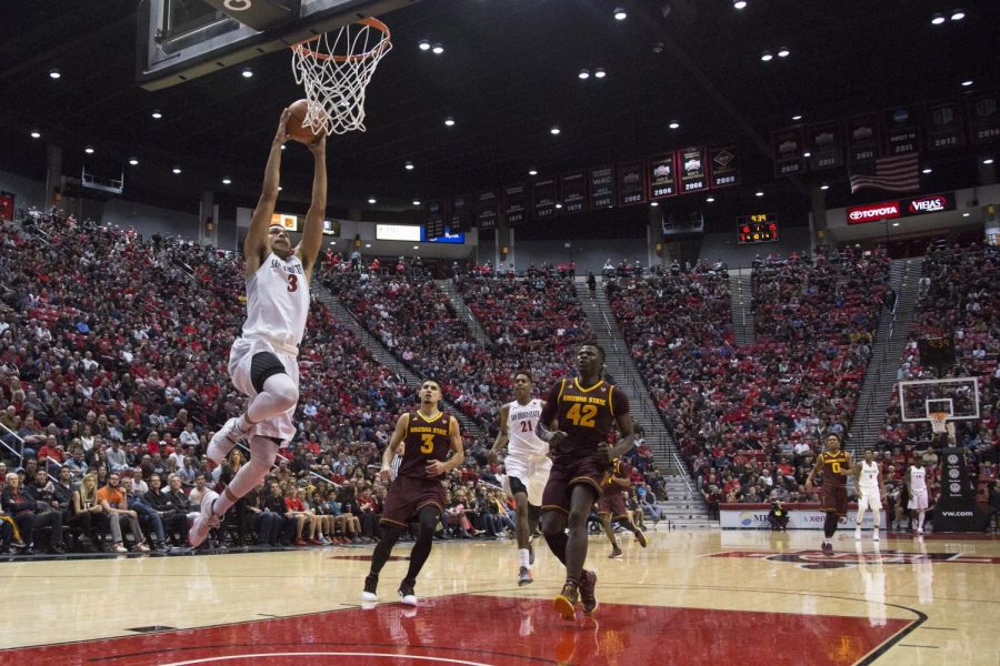 Senior+guard+Trey+Kell+breaks+away+for+a+dunk+during+SDSU%27s+loss+to+Arizona+State+in+Dec.+16.