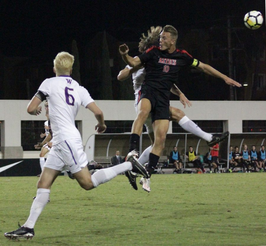 Senior forward Jeroen Meefout jumps for a header during SDSU's 0-1 loss to No. 23 Washington on Oct. 26.