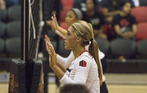 Senior hitter Alexis Cage stands ready at the net during SDSU's loss to Loyola Marymount on Sept. 8.