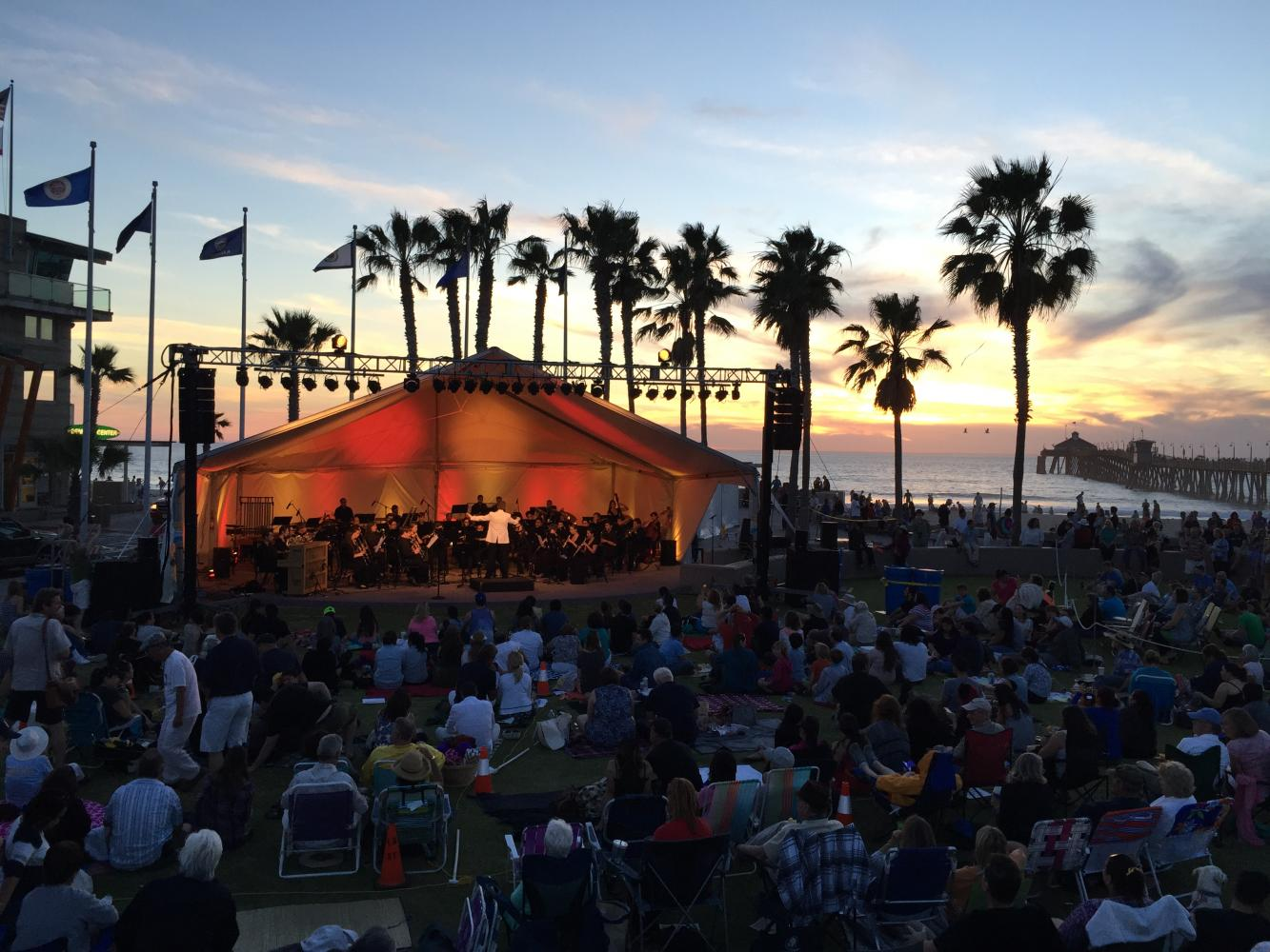 San Diego State's Symphony Orchestra and Wind Symphony performed during sunset in Imperial Beach at the annual Symphony by the Sea on Saturday, Oct. 7.